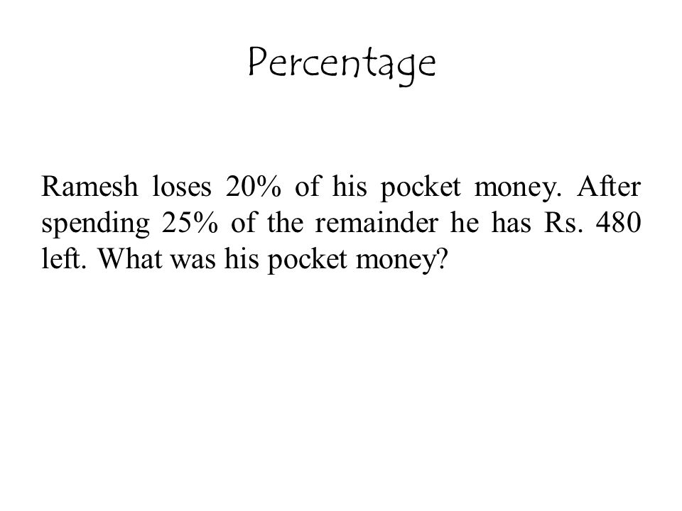 Percentage Ramesh loses 20% of his pocket money. After spending 25% of the remainder he has Rs.