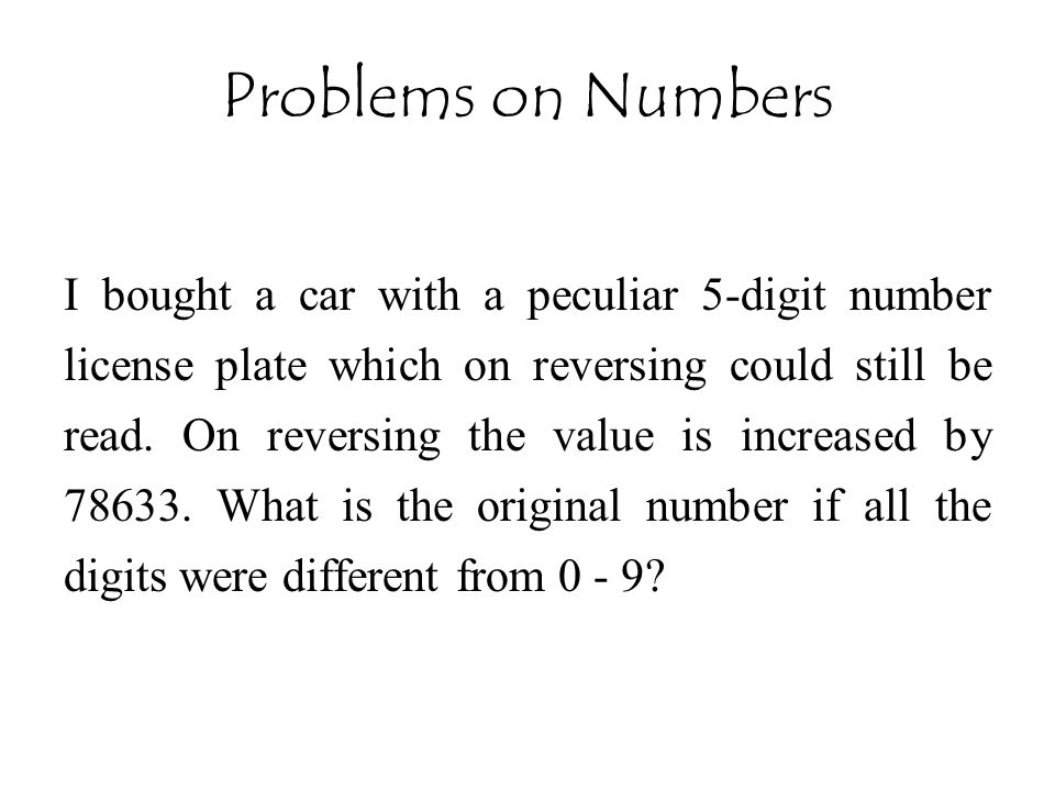 Problems on Numbers