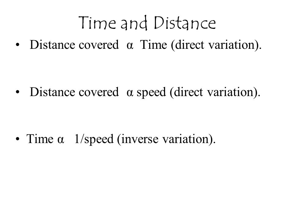 Time and Distance Distance covered α Time (direct variation).