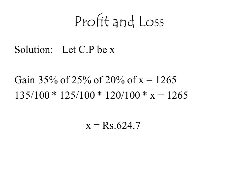 Profit and Loss Solution: Let C.P be x