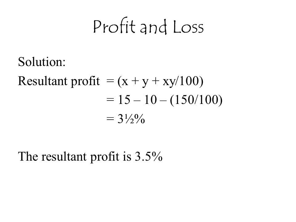 Profit and Loss Solution: Resultant profit = (x + y + xy/100)