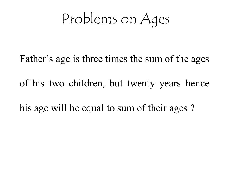 Problems on Ages