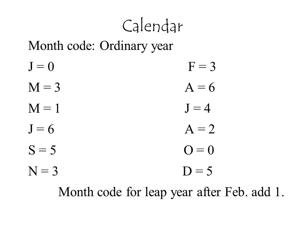 Calendar Month code: Ordinary year J = 0 F = 3 M = 3 A = 6 M = 1 J = 4