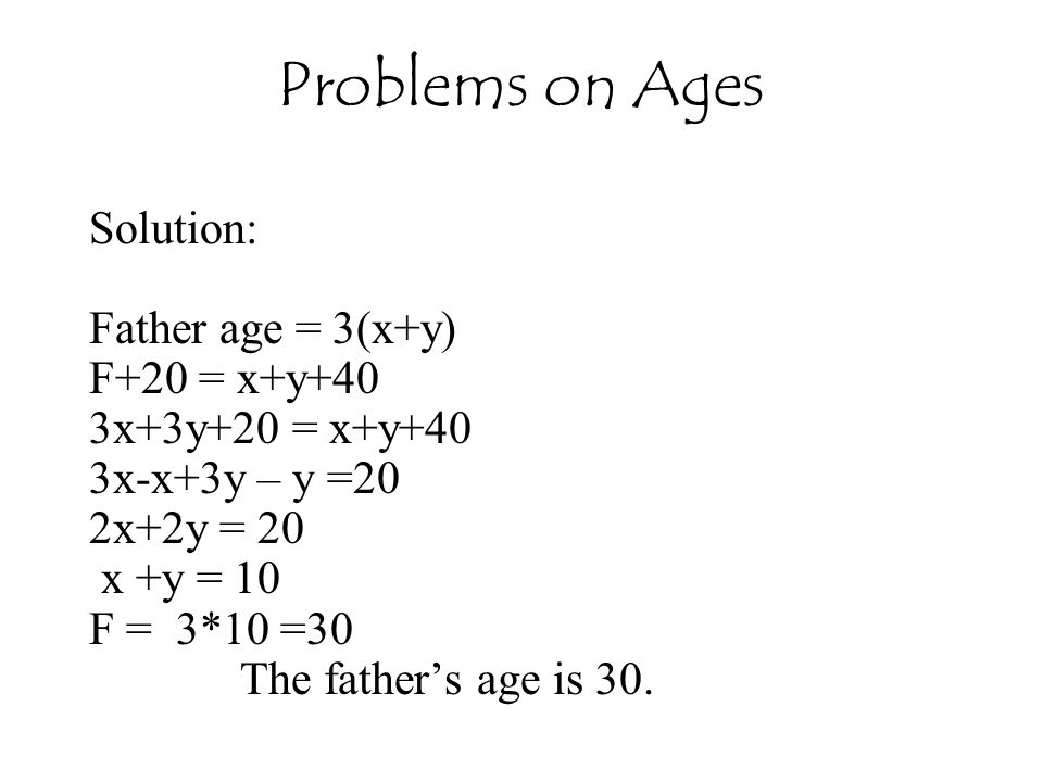 Problems on Ages Solution: Father age = 3(x+y) F+20 = x+y+40
