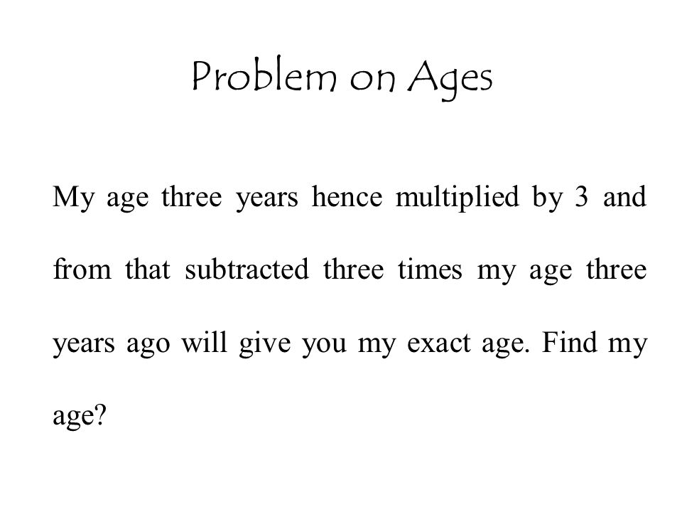 Problem on Ages