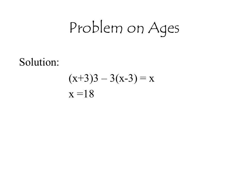 Solution: (x+3)3 – 3(x-3) = x x =18