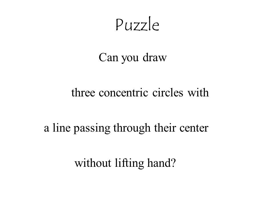 Puzzle Can you draw three concentric circles with