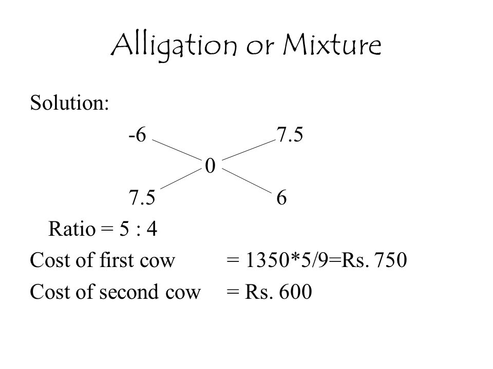Alligation or Mixture Solution: -6 7.5 7.5 6 Ratio = 5 : 4