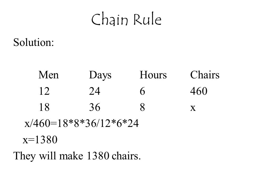Chain Rule Solution: Men Days Hours Chairs 12 24 6 460 18 36 8 x