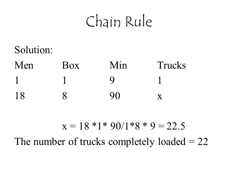 Chain Rule Solution: Men Box Min Trucks 1 1 9 1 18 8 90 x