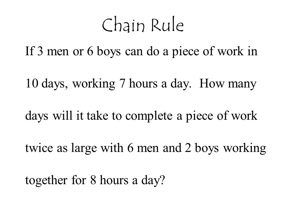Chain Rule If 3 men or 6 boys can do a piece of work in