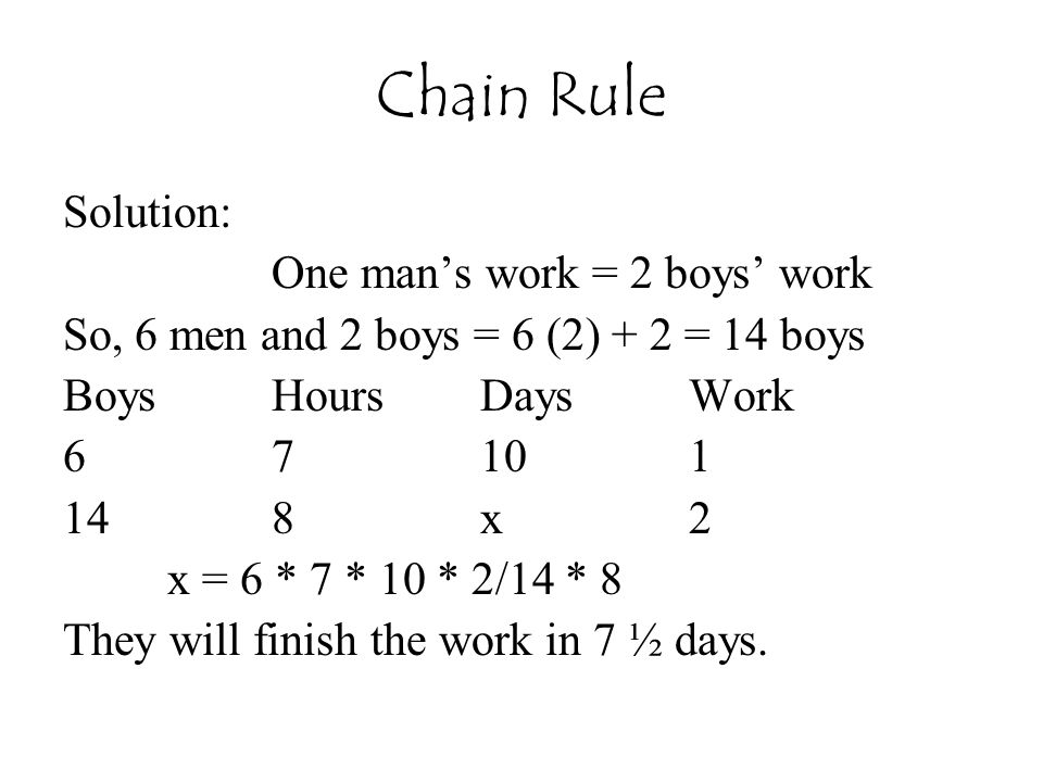 Chain Rule Solution: One man's work = 2 boys' work