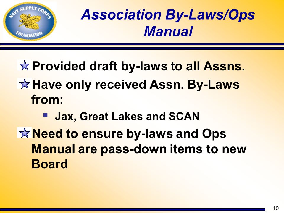 Association By-Laws/Ops Manual