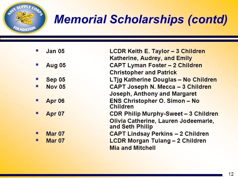 Memorial Scholarships (contd)