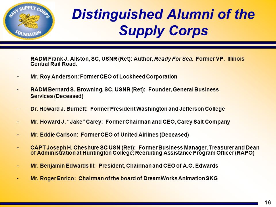 Distinguished Alumni of the Supply Corps