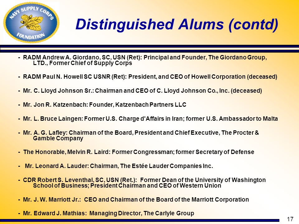 Distinguished Alums (contd)