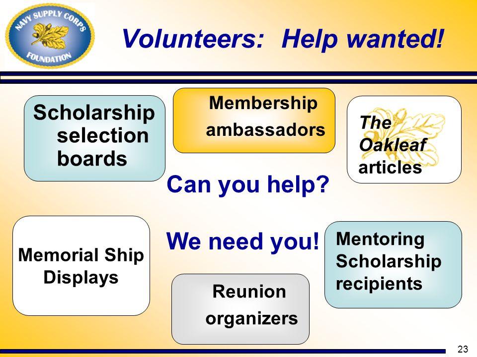 Volunteers: Help wanted!
