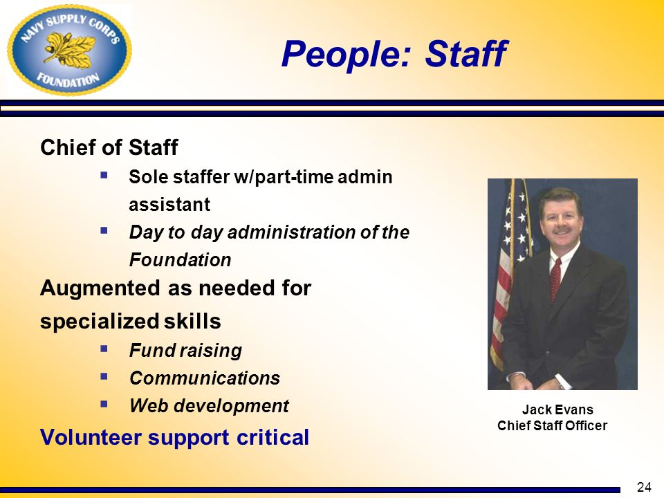 People: Staff Chief of Staff Augmented as needed for