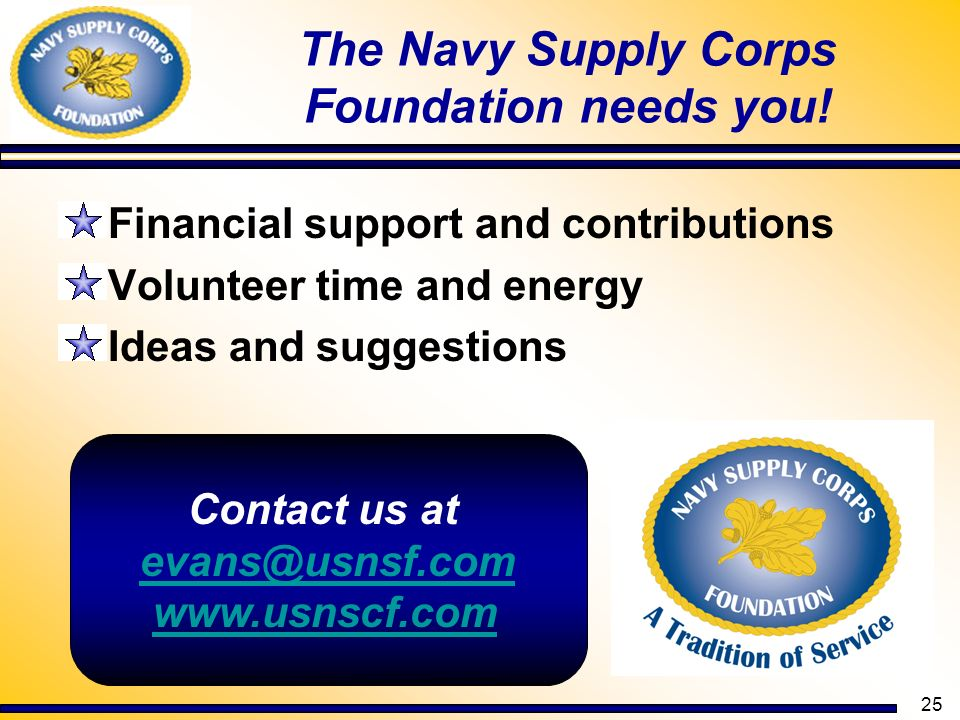 The Navy Supply Corps Foundation needs you!