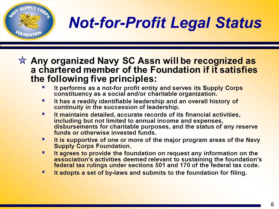 Not-for-Profit Legal Status
