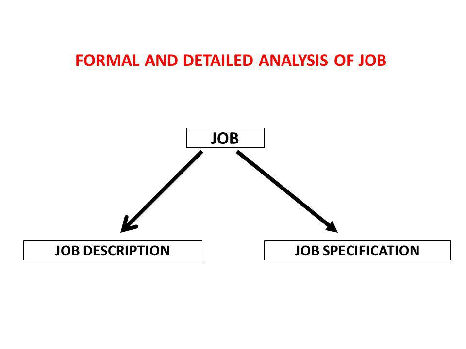 FORMAL AND DETAILED ANALYSIS OF JOB