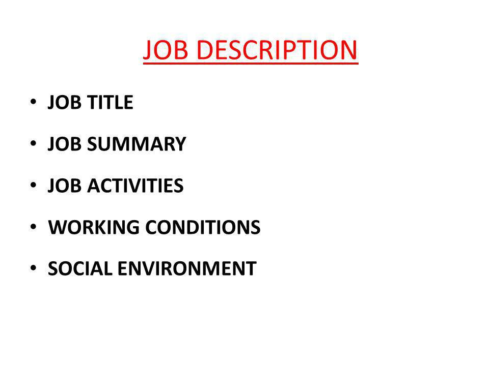 JOB DESCRIPTION JOB TITLE JOB SUMMARY JOB ACTIVITIES