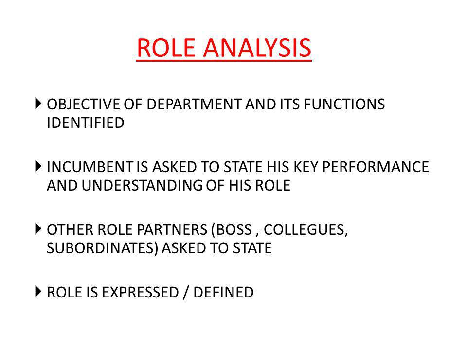 ROLE ANALYSIS OBJECTIVE OF DEPARTMENT AND ITS FUNCTIONS IDENTIFIED