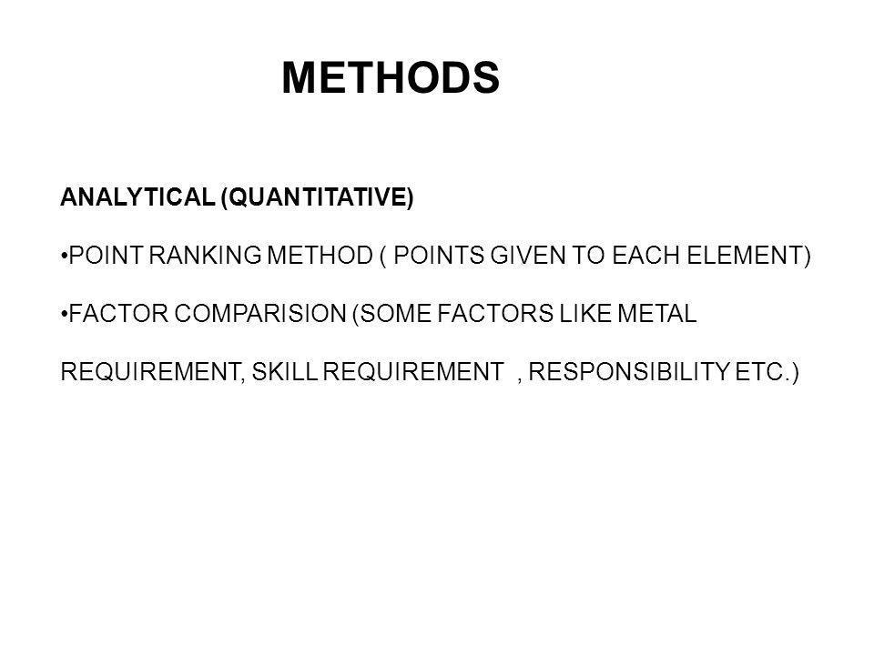 METHODS ANALYTICAL (QUANTITATIVE)