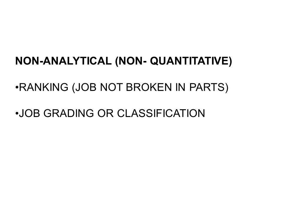 NON-ANALYTICAL (NON- QUANTITATIVE)