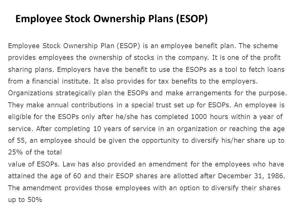 Employee Stock Ownership Plans (ESOP)