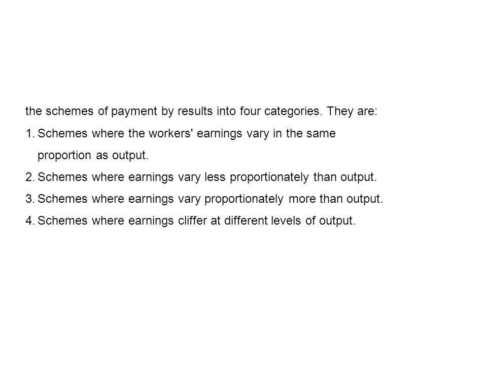 the schemes of payment by results into four categories. They are: