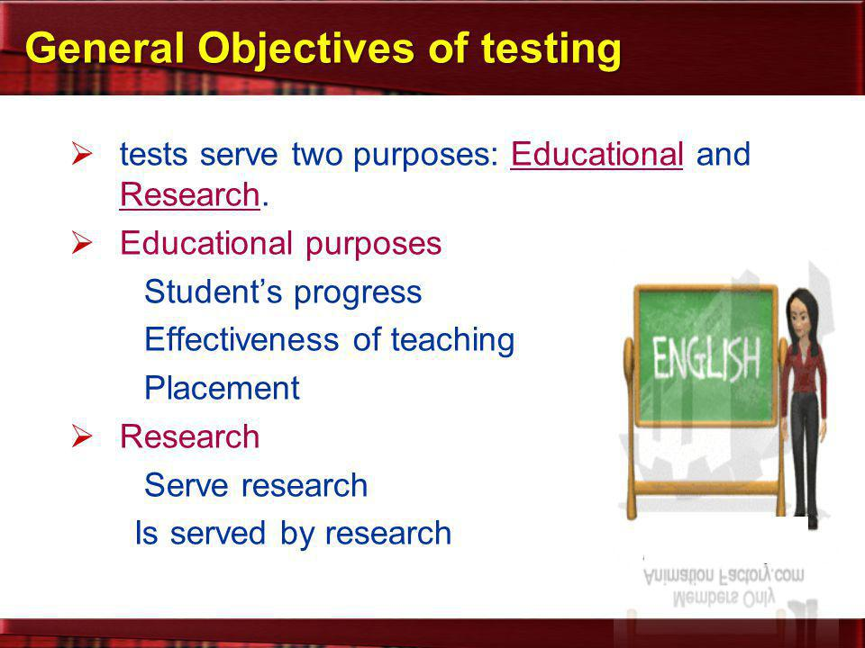 General Objectives of testing