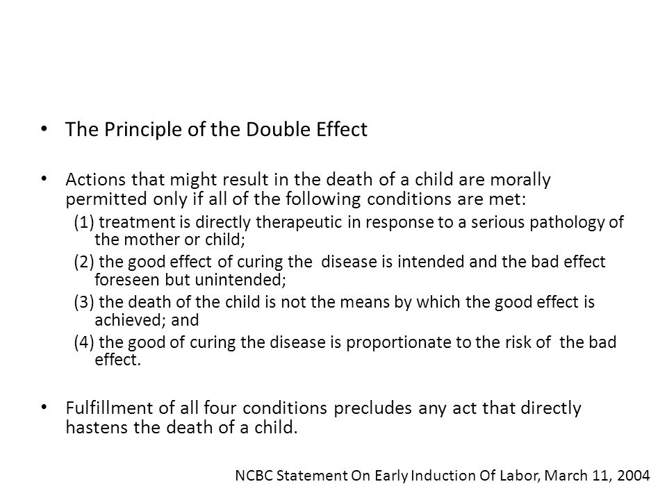 The Principle of the Double Effect