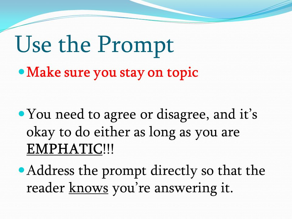 Use the Prompt Make sure you stay on topic
