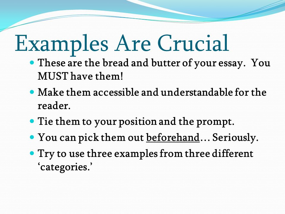 Examples Are Crucial These are the bread and butter of your essay. You MUST have them! Make them accessible and understandable for the reader.