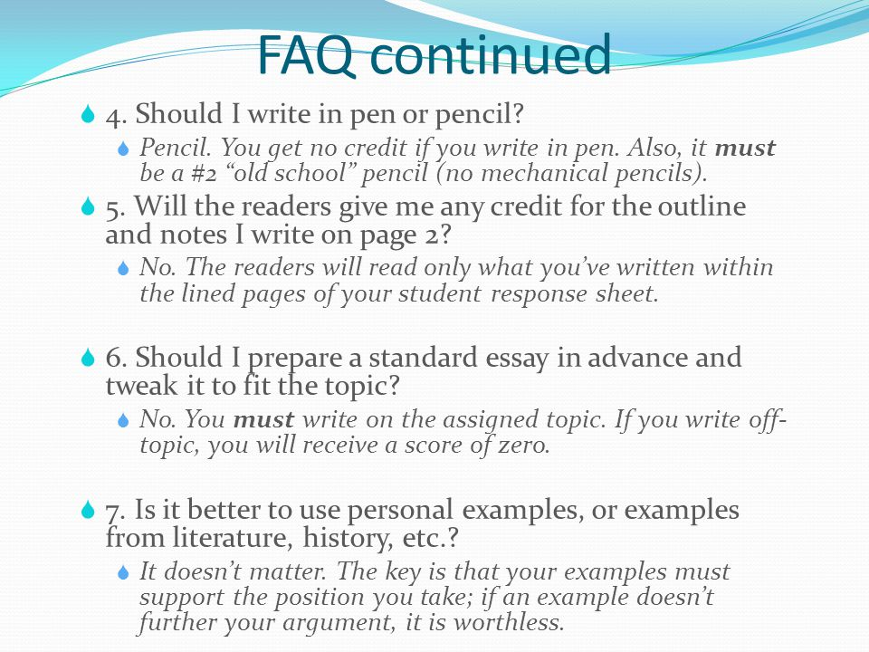 4 faq - Examples To Use For Sat Essay