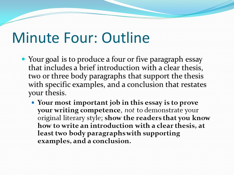 Minute Four: Outline