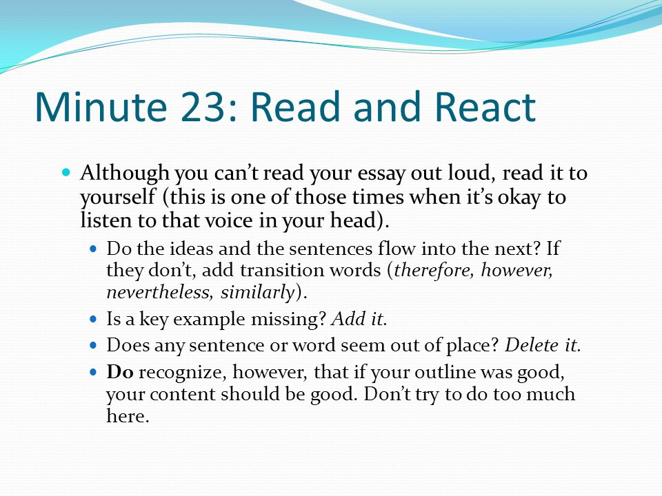 Minute 23: Read and React