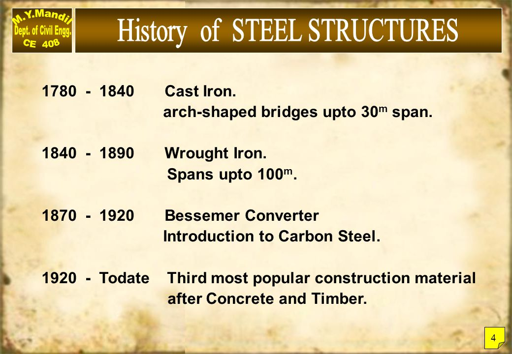 History of STEEL STRUCTURES