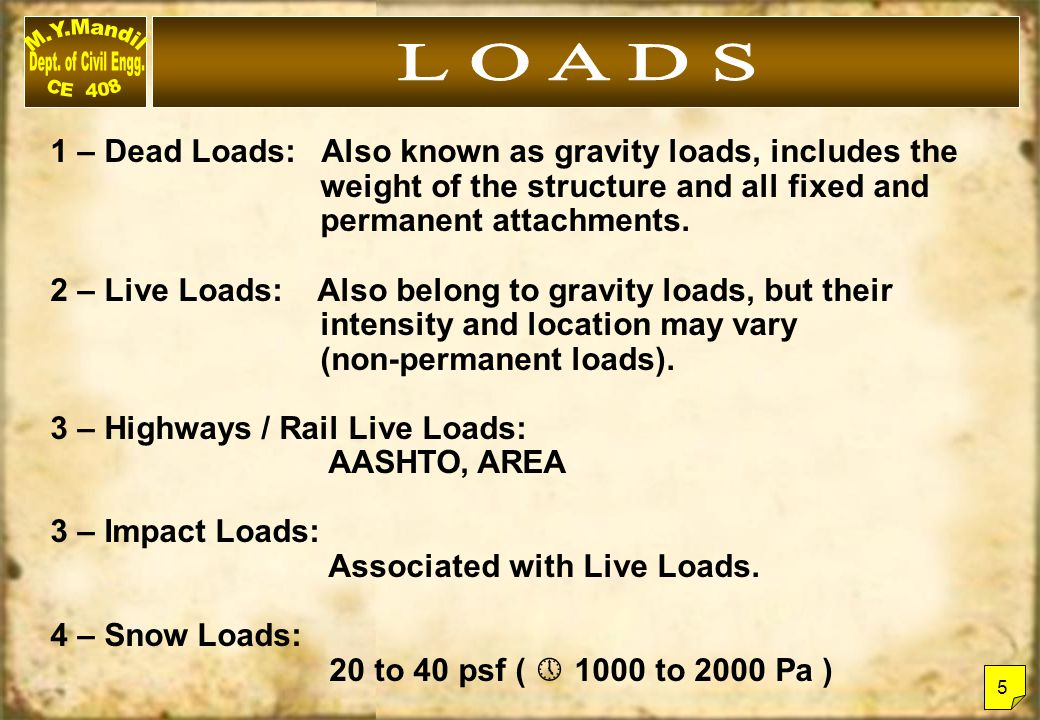 L O A D S 1 – Dead Loads: Also known as gravity loads, includes the