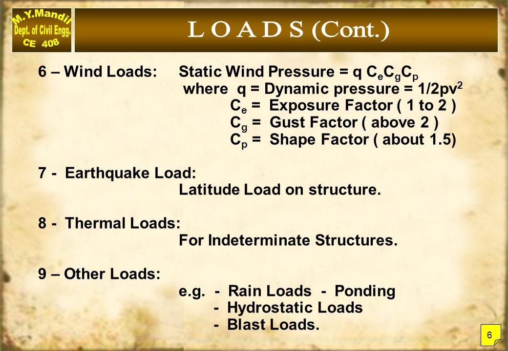 L O A D S (Cont.) 6 – Wind Loads: Static Wind Pressure = q CeCgCp