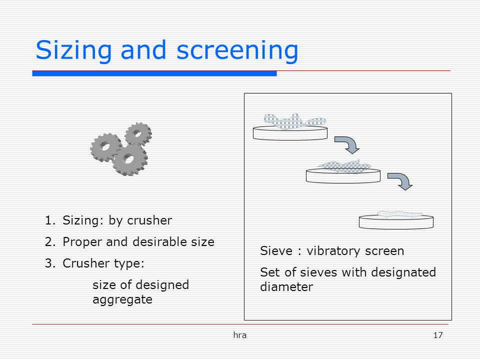 Sizing and screening Sizing: by crusher Proper and desirable size