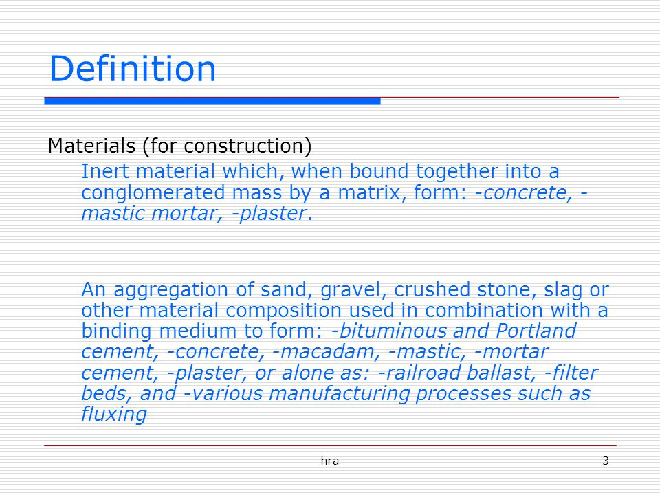 Definition Materials (for construction)
