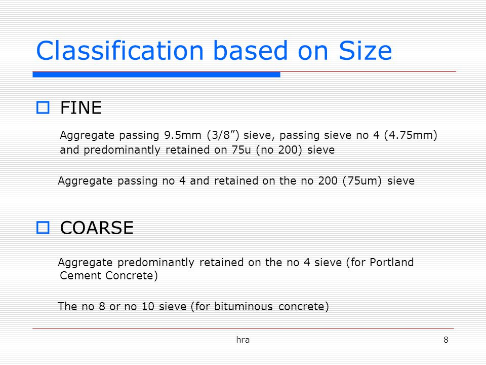 Classification based on Size