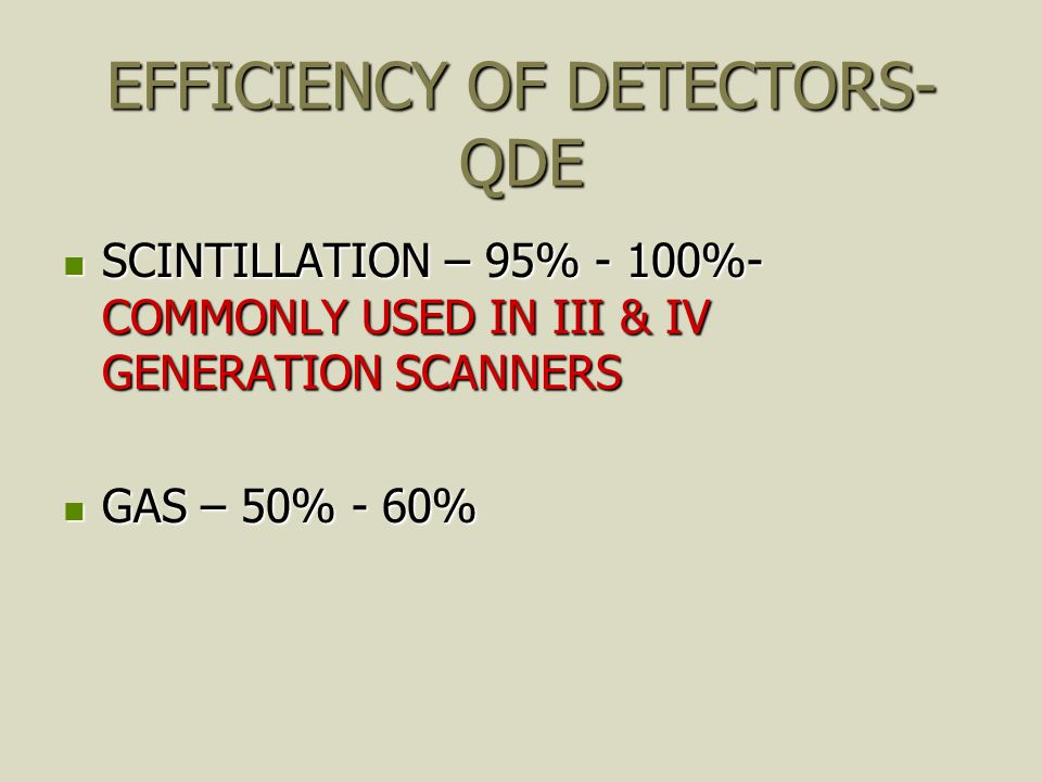 EFFICIENCY OF DETECTORS- QDE
