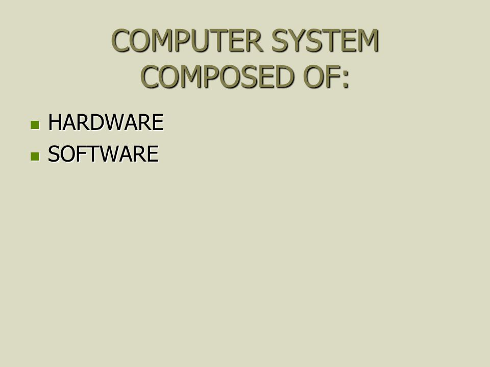 COMPUTER SYSTEM COMPOSED OF: