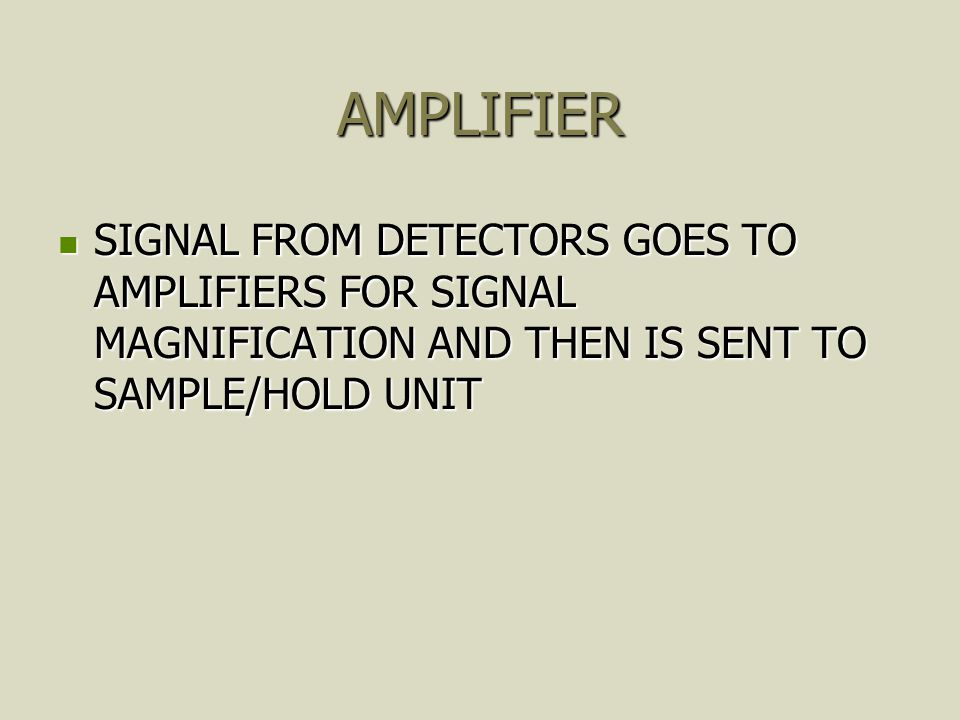 AMPLIFIER SIGNAL FROM DETECTORS GOES TO AMPLIFIERS FOR SIGNAL MAGNIFICATION AND THEN IS SENT TO SAMPLE/HOLD UNIT.