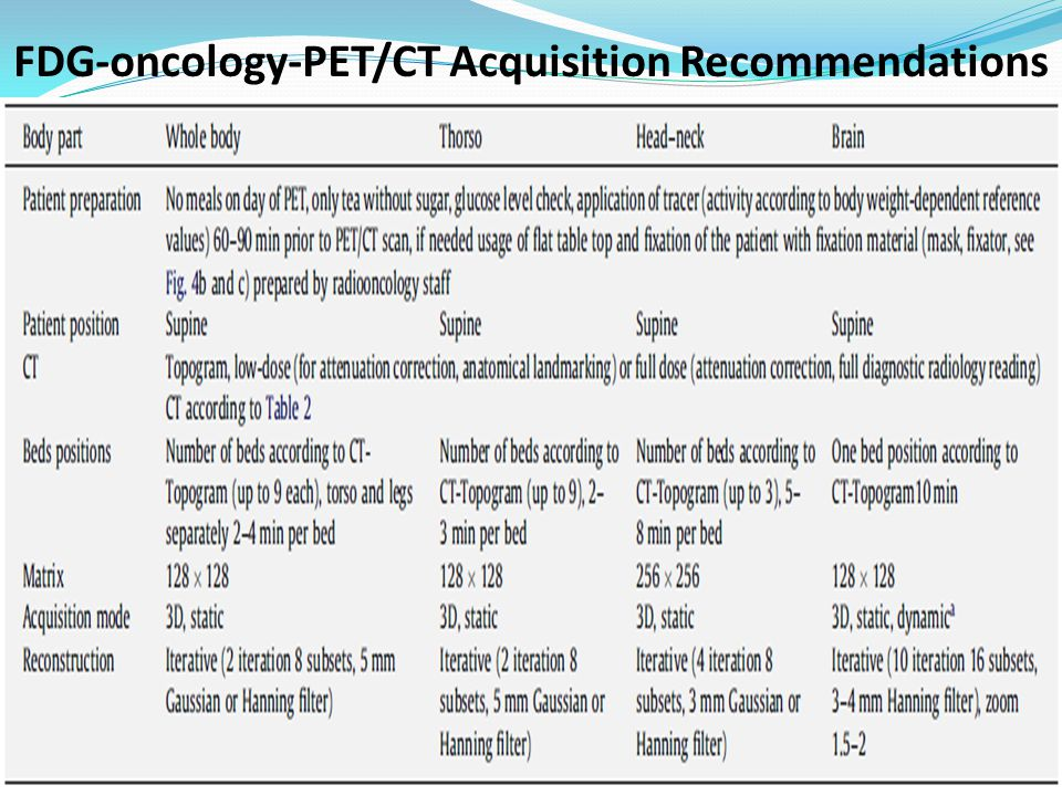 FDG-oncology-PET/CT Acquisition Recommendations