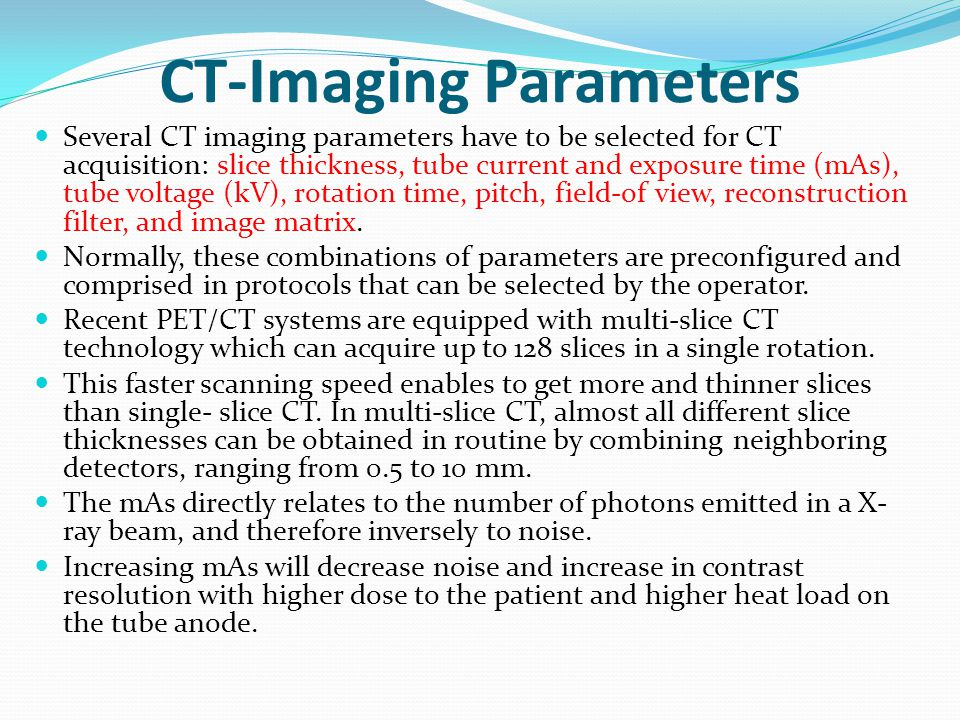 CT-Imaging Parameters