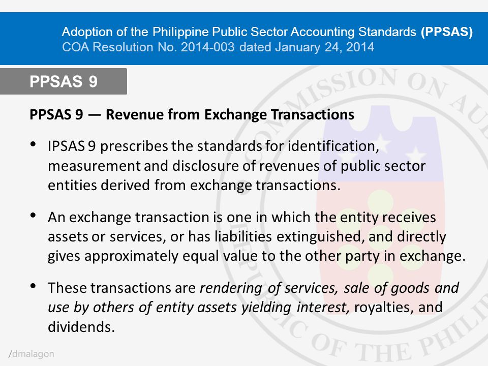 PPSAS 9 ― Revenue from Exchange Transactions